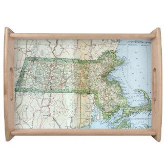 Mapa del vintage de Massachusetts (1905) Bandejas
