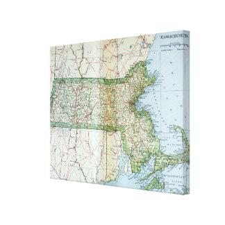 Mapa del vintage de Massachusetts (1905) Lona Estirada Galerias