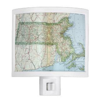 Mapa del vintage de Massachusetts (1905) Luces De Noche