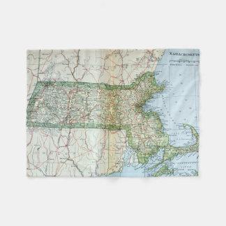 Mapa del vintage de Massachusetts (1905) Manta De Forro Polar