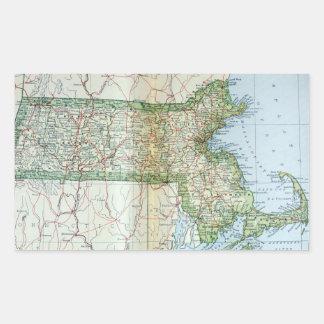 Mapa del vintage de Massachusetts (1905) Rectangular Pegatinas