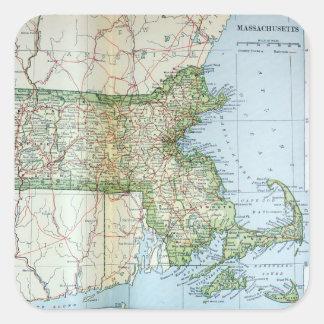 Mapa del vintage de Massachusetts (1905) Pegatina Cuadrada
