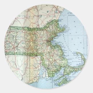 Mapa del vintage de Massachusetts (1905) Pegatina Redonda