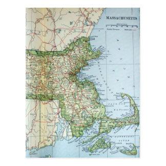 Mapa del vintage de Massachusetts (1905) Postales