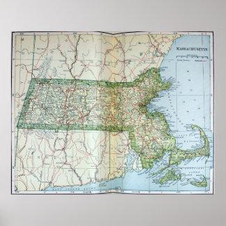 Mapa del vintage de Massachusetts (1905) Póster