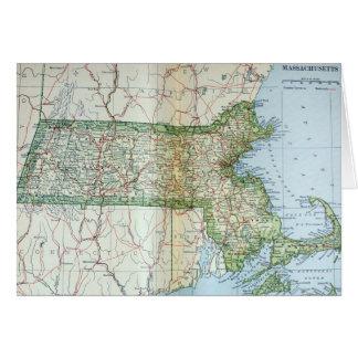 Mapa del vintage de Massachusetts (1905) Tarjeta De Felicitación