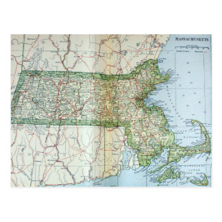 Mapa del vintage de Massachusetts (1905) Tarjetas Postales