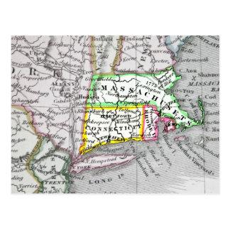Mapa del vintage de Massachusetts, Connecticut Rho Postal