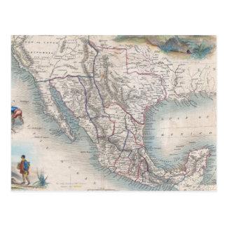 Mapa del vintage de México (1851) Tarjeta Postal