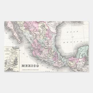 Mapa del vintage de México 1855 Etiquetas
