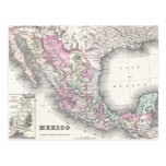Mapa del vintage de México (1855) Postal