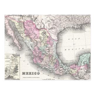 Mapa del vintage de México 1855 Postal