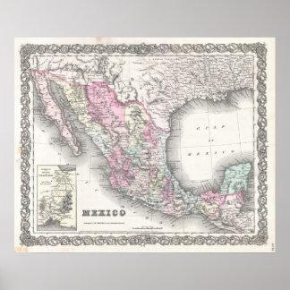 Mapa del vintage de México 1855 Poster