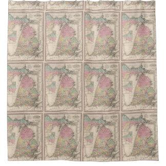 Mapa del vintage de Michigan (1836) Cortina De Baño