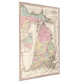 Mapa del vintage de Michigan (1836) Impresiones De Lienzo