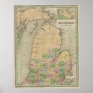 Mapa del vintage de Michigan (1838) Póster