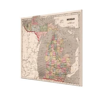 Mapa del vintage de Michigan (1844) Impresiones De Lienzo
