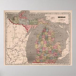 Mapa del vintage de Michigan (1844) Póster