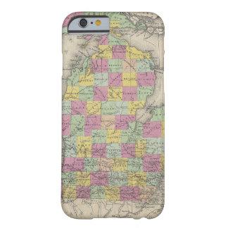 Mapa del vintage de Michigan (1853) Funda De iPhone 6 Barely There