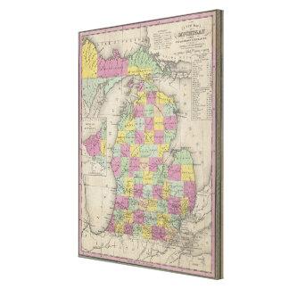 Mapa del vintage de Michigan (1853) Impresiones En Lona Estiradas