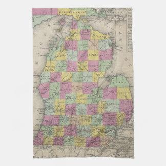 Mapa del vintage de Michigan (1853) Toallas De Cocina
