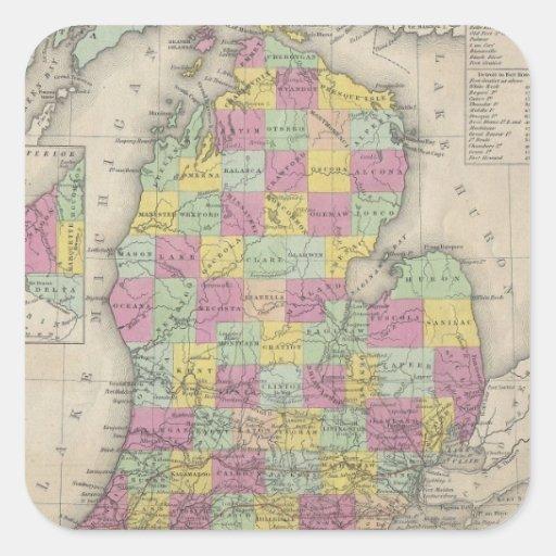 Mapa del vintage de Michigan (1853) Pegatina Cuadrada