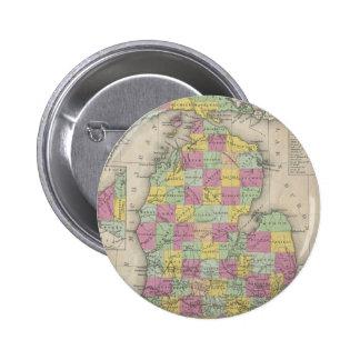 Mapa del vintage de Michigan (1853) Pin Redondo 5 Cm