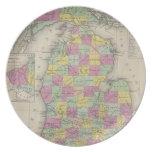 Mapa del vintage de Michigan (1853) Plato De Cena