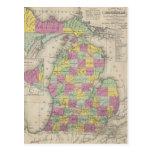 Mapa del vintage de Michigan (1853) Postal