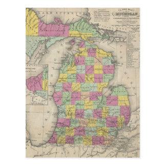 Mapa del vintage de Michigan (1853) Postales