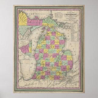 Mapa del vintage de Michigan (1853) Póster