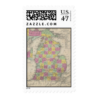Mapa del vintage de Michigan (1853) Sello Postal