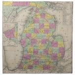 Mapa del vintage de Michigan (1853) Servilleta De Papel
