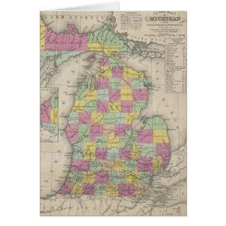 Mapa del vintage de Michigan (1853) Tarjetas
