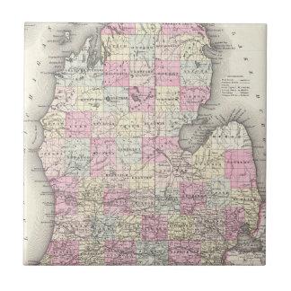 Mapa del vintage de Michigan (1855) Azulejo Cuadrado Pequeño