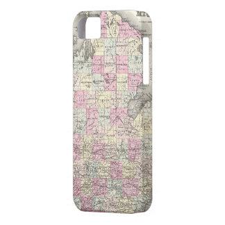 Mapa del vintage de Michigan (1855) iPhone 5 Case-Mate Fundas
