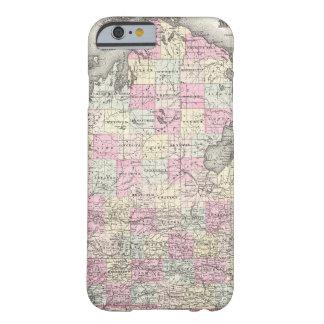 Mapa del vintage de Michigan (1855) Funda Barely There iPhone 6