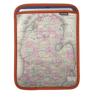 Mapa del vintage de Michigan (1855) Fundas Para iPads