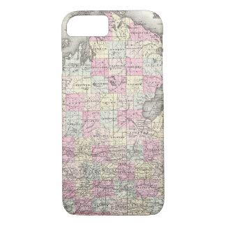 Mapa del vintage de Michigan (1855) Funda iPhone 7