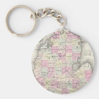 Mapa del vintage de Michigan (1855) Llavero Redondo Tipo Pin
