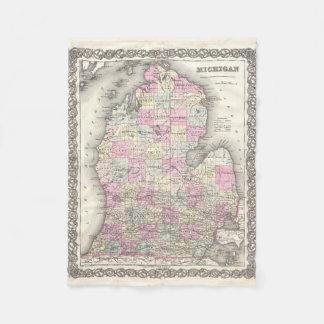 Mapa del vintage de Michigan (1855) Manta De Forro Polar