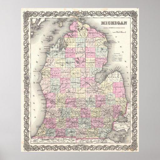Mapa del vintage de Michigan (1855) Póster
