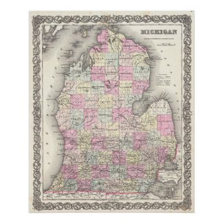 Mapa del vintage de Michigan (1855) Posters