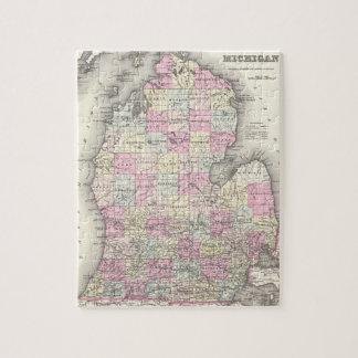 Mapa del vintage de Michigan (1855) Puzzles