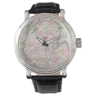Mapa del vintage de Michigan (1855) Relojes