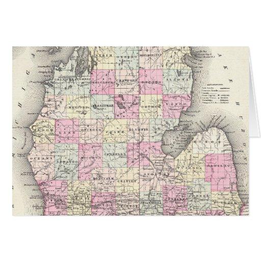 Mapa del vintage de Michigan (1855) Tarjeta De Felicitación