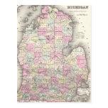 Mapa del vintage de Michigan (1855) Tarjetas Postales