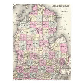 Mapa del vintage de Michigan (1855) Postal