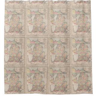 Mapa del vintage de Michigan (1857) Cortina De Baño