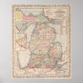 Mapa del vintage de Michigan (1857) Póster
